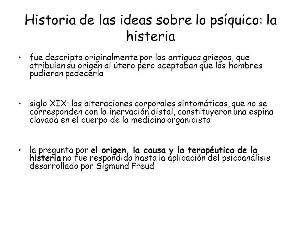 Historia de las ideas sobre lo psíquico: la histeria