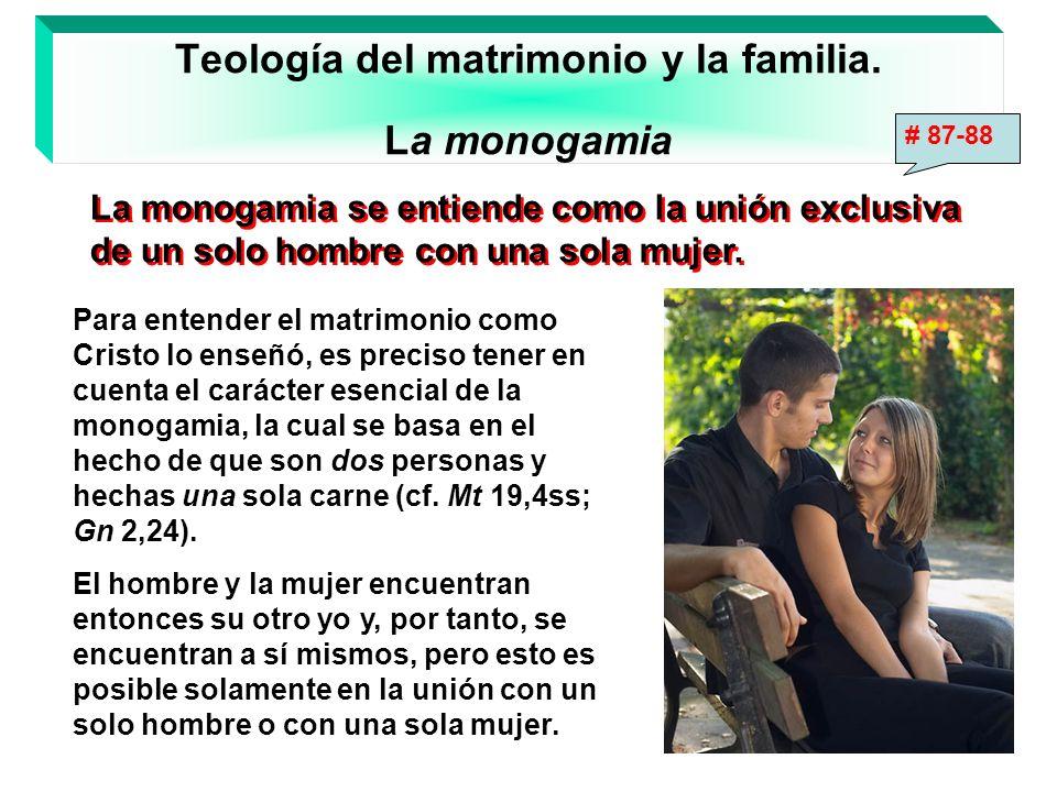 Teología del matrimonio y la familia. La monogamia