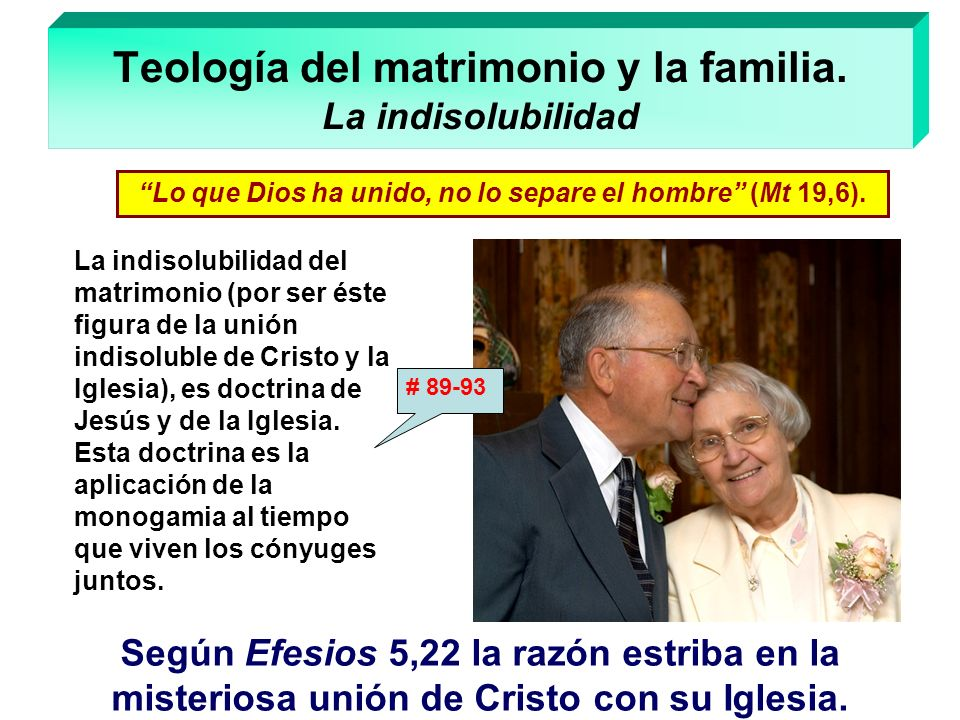 Teología del matrimonio y la familia. La indisolubilidad