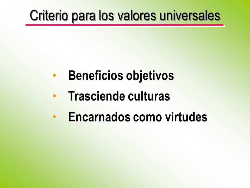 Criterio para los valores universales
