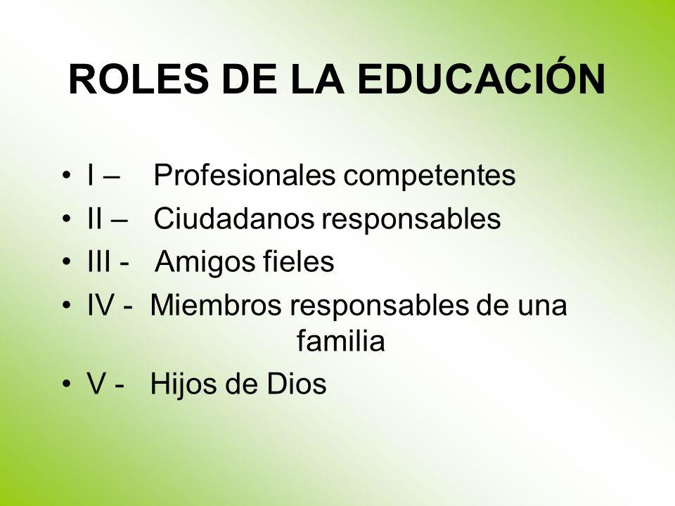 ROLES DE LA EDUCACIÓN I – Profesionales competentes