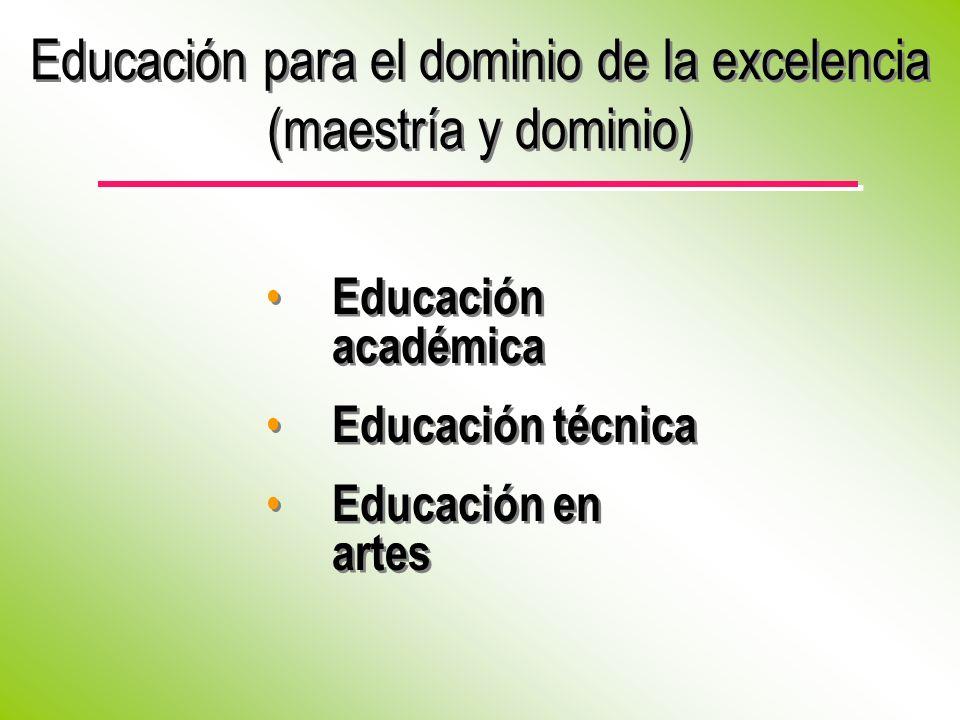Educación para el dominio de la excelencia (maestría y dominio)
