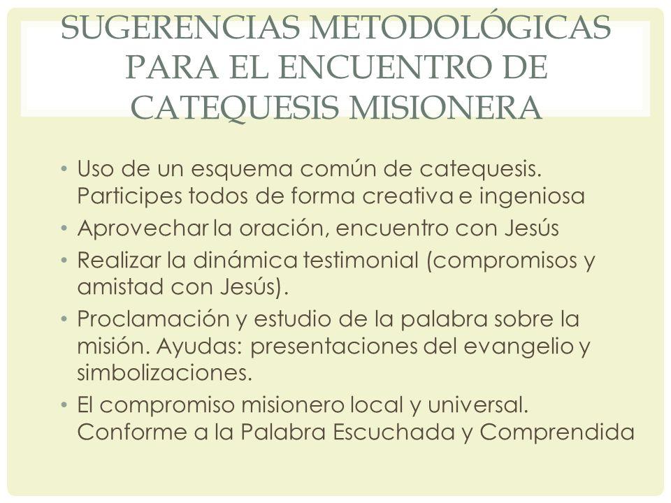 Sugerencias metodológicas para el encuentro de catequesis misionera