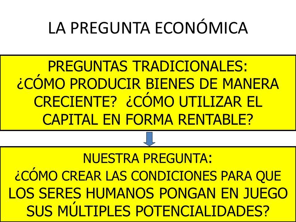 LA PREGUNTA ECONÓMICA PREGUNTAS TRADICIONALES: