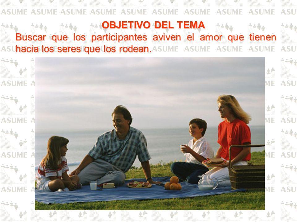 OBJETIVO DEL TEMA Buscar que los participantes aviven el amor que tienen hacia los seres que los rodean.