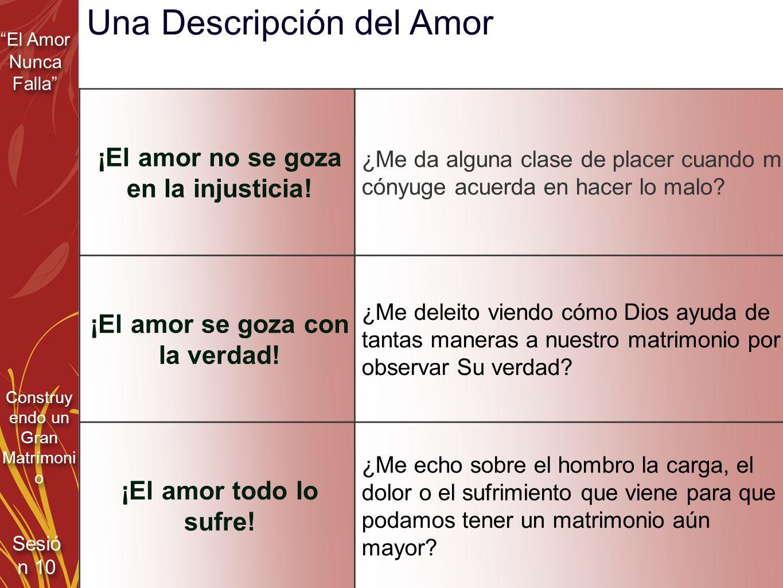 ¡El amor no se goza en la injusticia! ¡El amor se goza con la verdad!