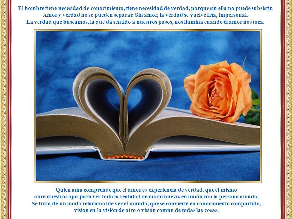 Quien ama comprende que el amor es experiencia de verdad, que él mismo
