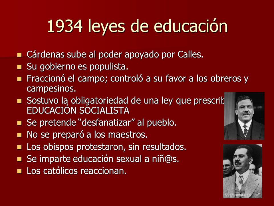 1934 leyes de educación Cárdenas sube al poder apoyado por Calles.
