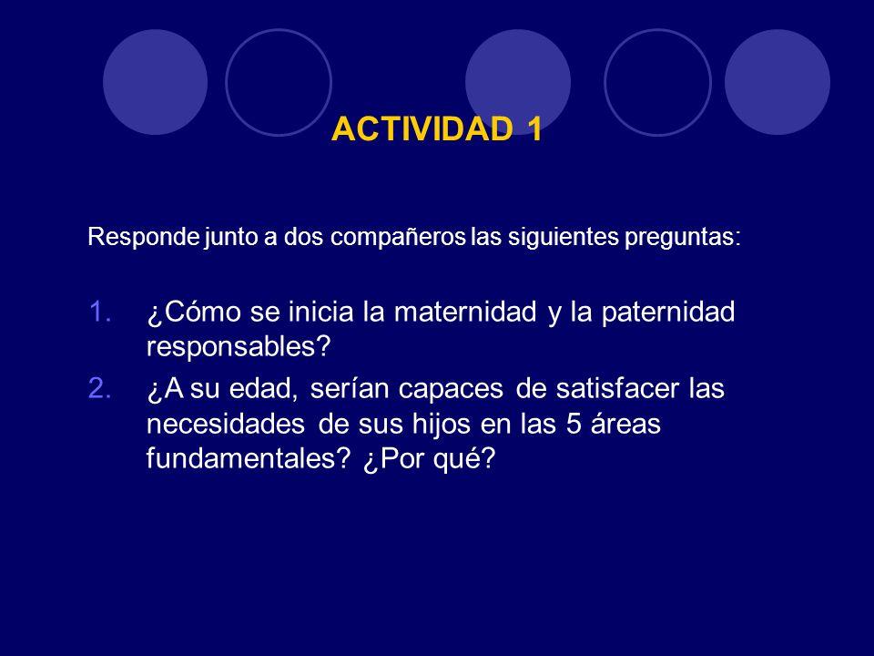 ACTIVIDAD 1 Responde junto a dos compañeros las siguientes preguntas: ¿Cómo se inicia la maternidad y la paternidad responsables