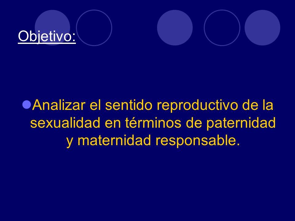 Objetivo: Analizar el sentido reproductivo de la sexualidad en términos de paternidad y maternidad responsable.