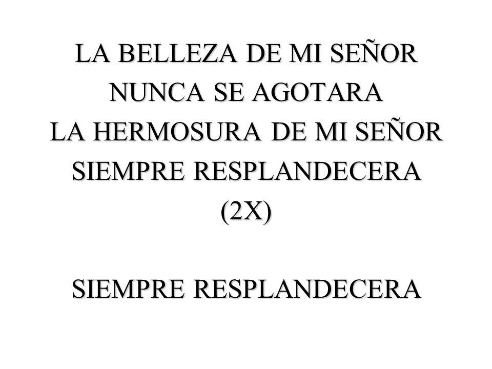 LA HERMOSURA DE MI SEÑOR SIEMPRE RESPLANDECERA (2X)