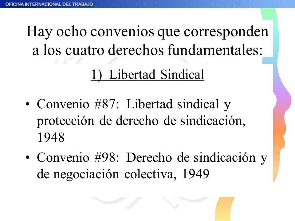 Hay ocho convenios que corresponden a los cuatro derechos fundamentales: