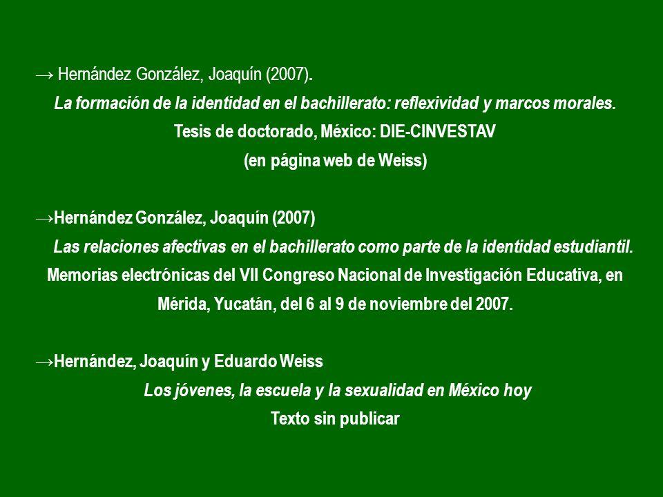 Tesis de doctorado, México: DIE-CINVESTAV (en página web de Weiss)