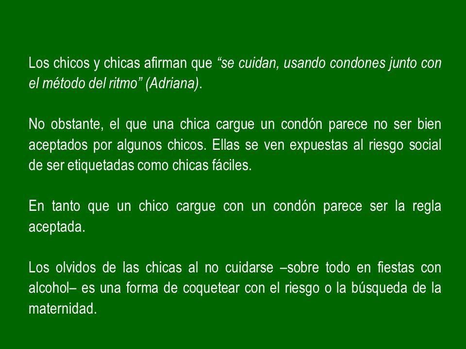 Los chicos y chicas afirman que se cuidan, usando condones junto con el método del ritmo (Adriana).