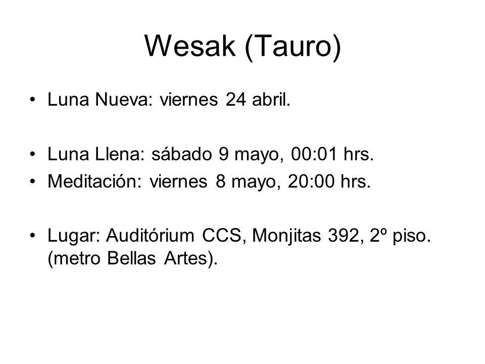 Wesak (Tauro) Luna Nueva: viernes 24 abril.