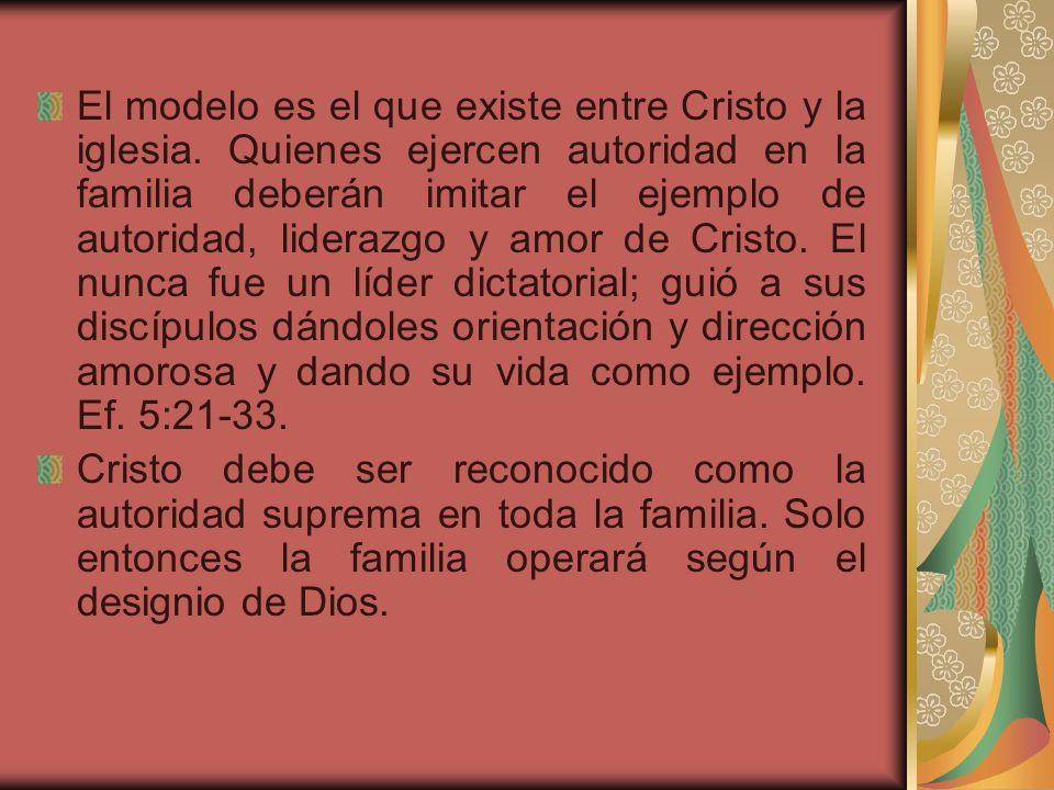 El modelo es el que existe entre Cristo y la iglesia