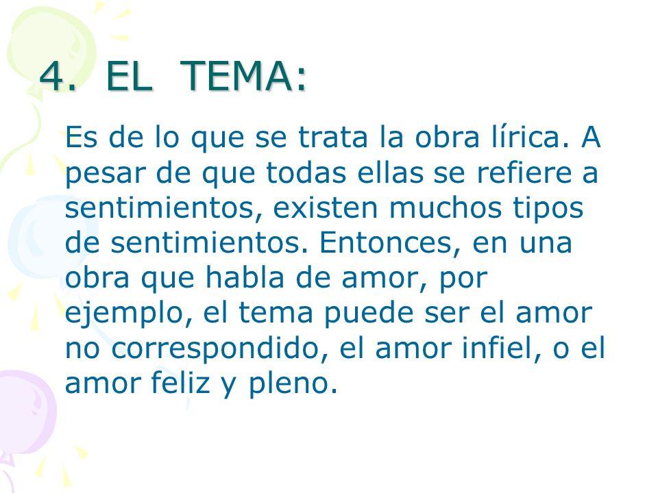 4. EL TEMA: