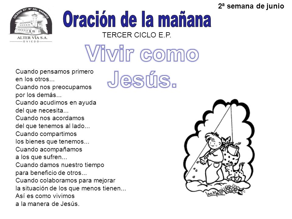 Vivir como Jesús. Oración de la mañana 2ª semana de junio