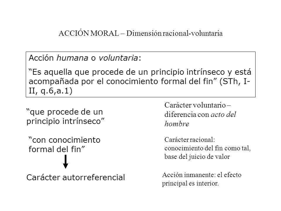 ACCIÓN MORAL – Dimensión racional-voluntaria