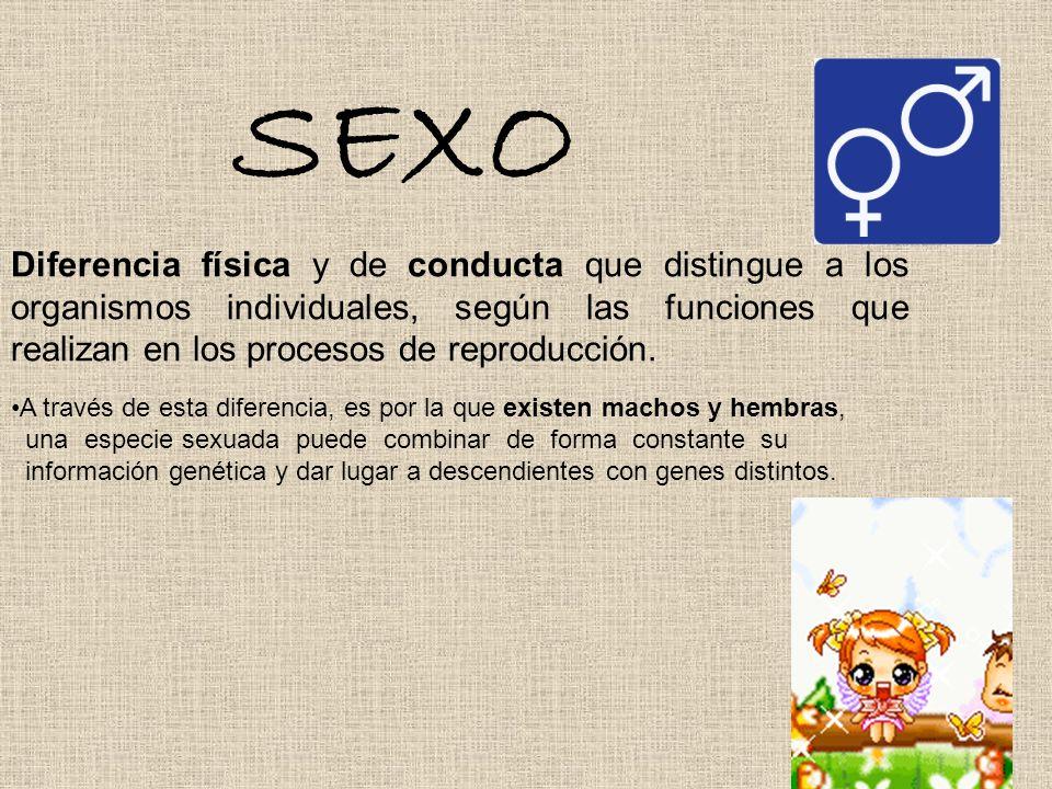 SEXO Diferencia física y de conducta que distingue a los organismos individuales, según las funciones que realizan en los procesos de reproducción.