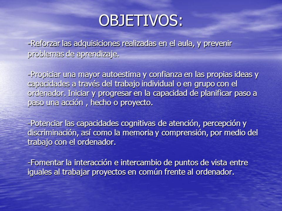 OBJETIVOS: -Reforzar las adquisiciones realizadas en el aula, y prevenir problemas de aprendizaje.