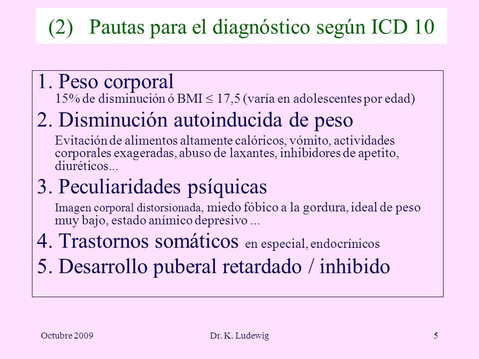 (2) Pautas para el diagnóstico según ICD 10