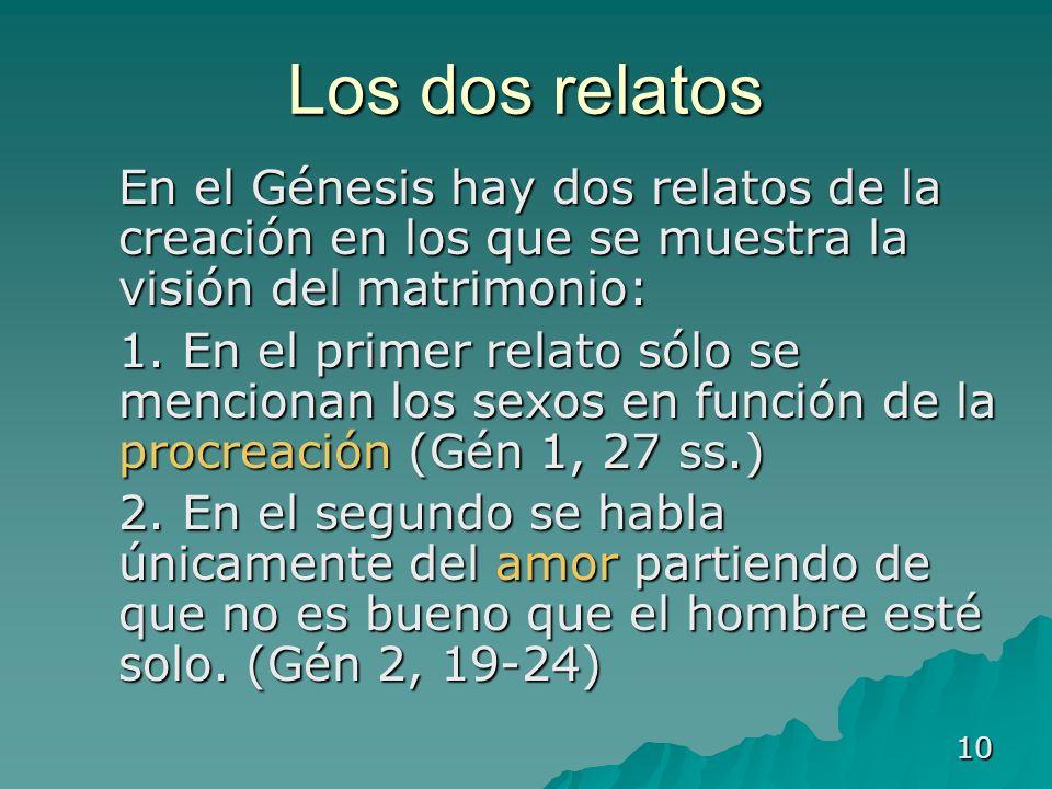 Los dos relatos En el Génesis hay dos relatos de la creación en los que se muestra la visión del matrimonio: