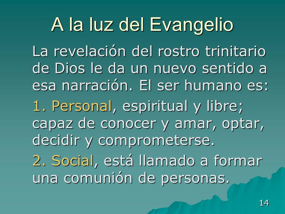 A la luz del Evangelio La revelación del rostro trinitario de Dios le da un nuevo sentido a esa narración. El ser humano es: