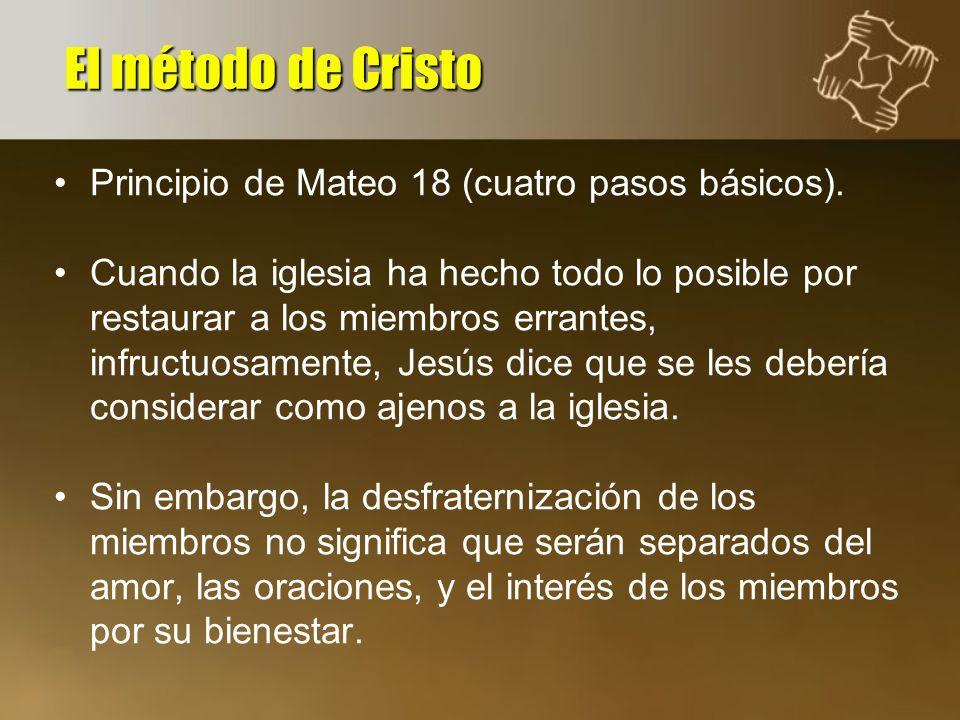 El método de Cristo Principio de Mateo 18 (cuatro pasos básicos).