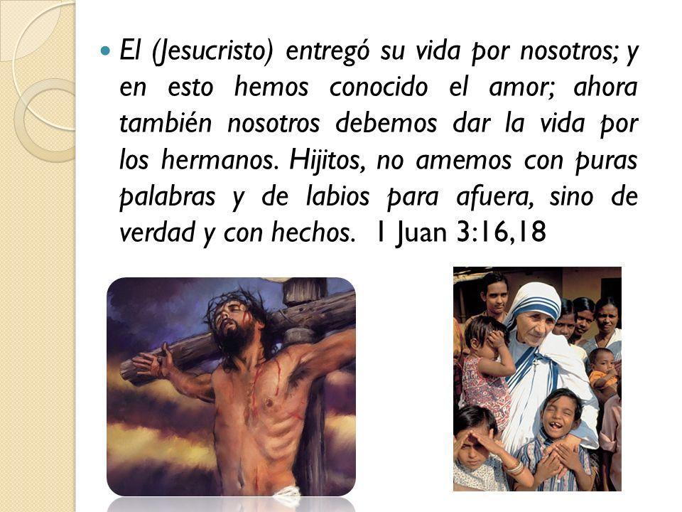 El (Jesucristo) entregó su vida por nosotros; y en esto hemos conocido el amor; ahora también nosotros debemos dar la vida por los hermanos.