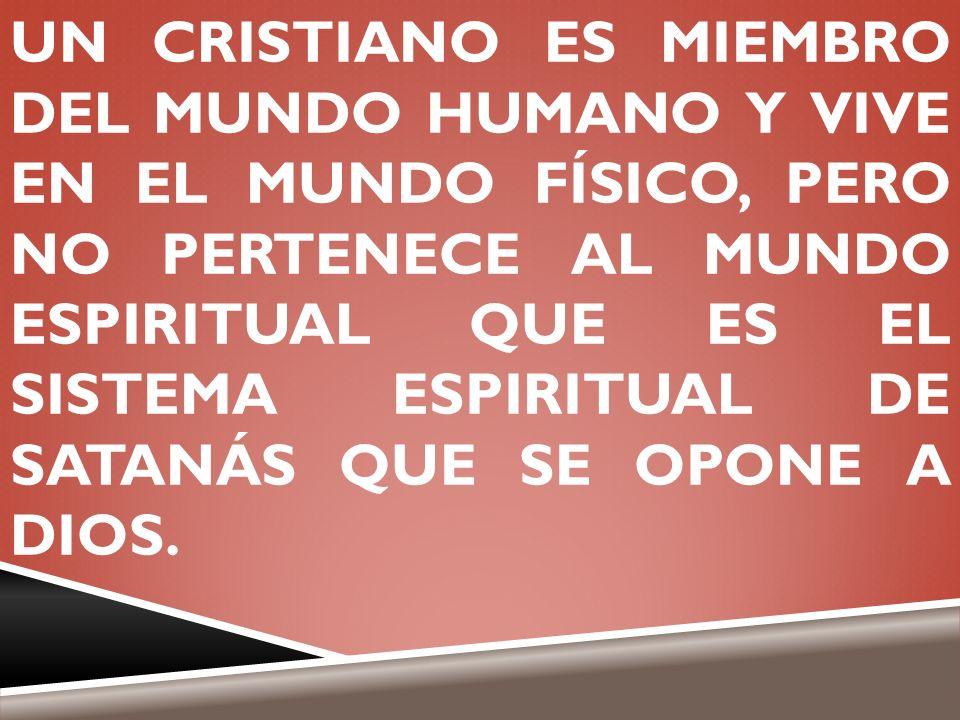 UN CRISTIANO ES MIEMBRO DEL MUNDO HUMANO Y VIVE EN EL MUNDO FÍSICO, PERO NO PERTENECE AL MUNDO ESPIRITUAL QUE ES EL SISTEMA ESPIRITUAL DE SATANÁS QUE SE OPONE A DIOS.