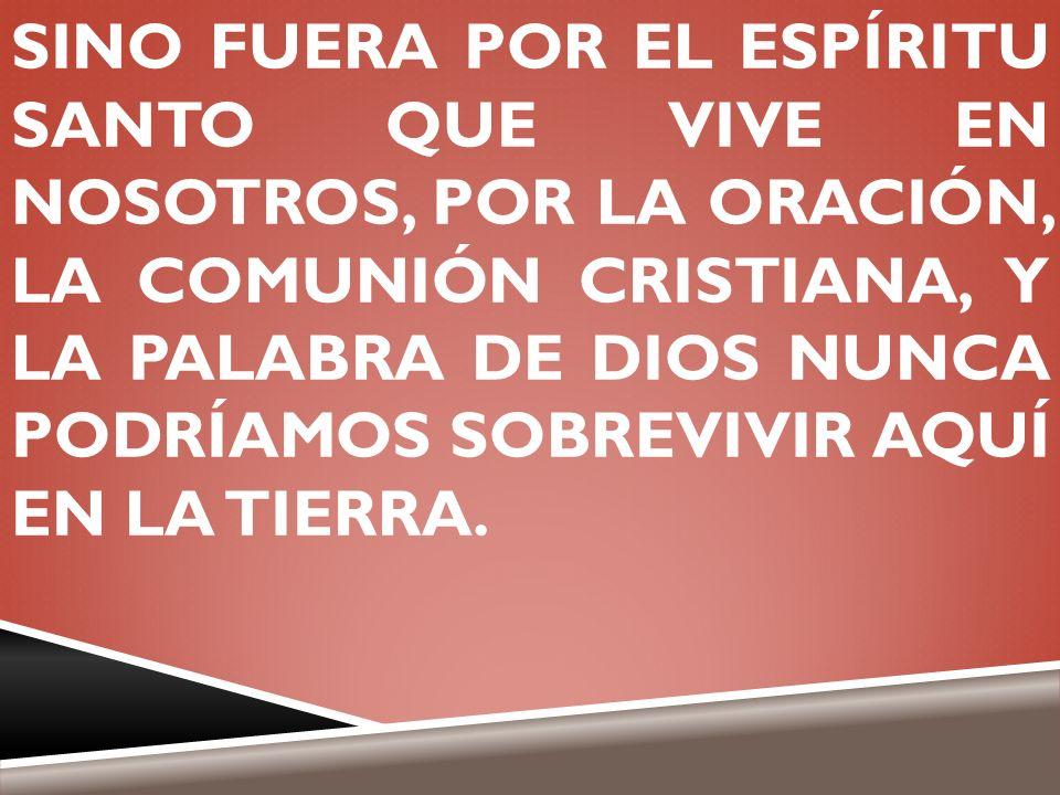 SINO FUERA POR EL ESPÍRITU SANTO QUE VIVE EN NOSOTROS, POR LA ORACIÓN, LA COMUNIÓN CRISTIANA, Y LA PALABRA DE DIOS NUNCA PODRÍAMOS SOBREVIVIR AQUÍ EN LA TIERRA.