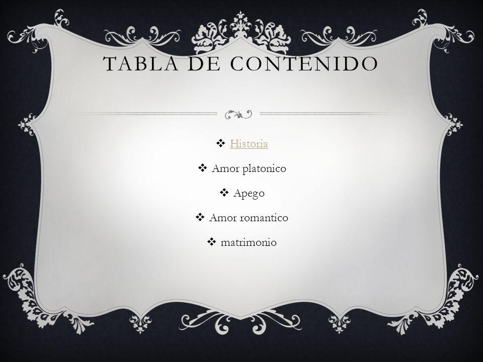 Tabla de contenido Historia Amor platonico Apego Amor romantico