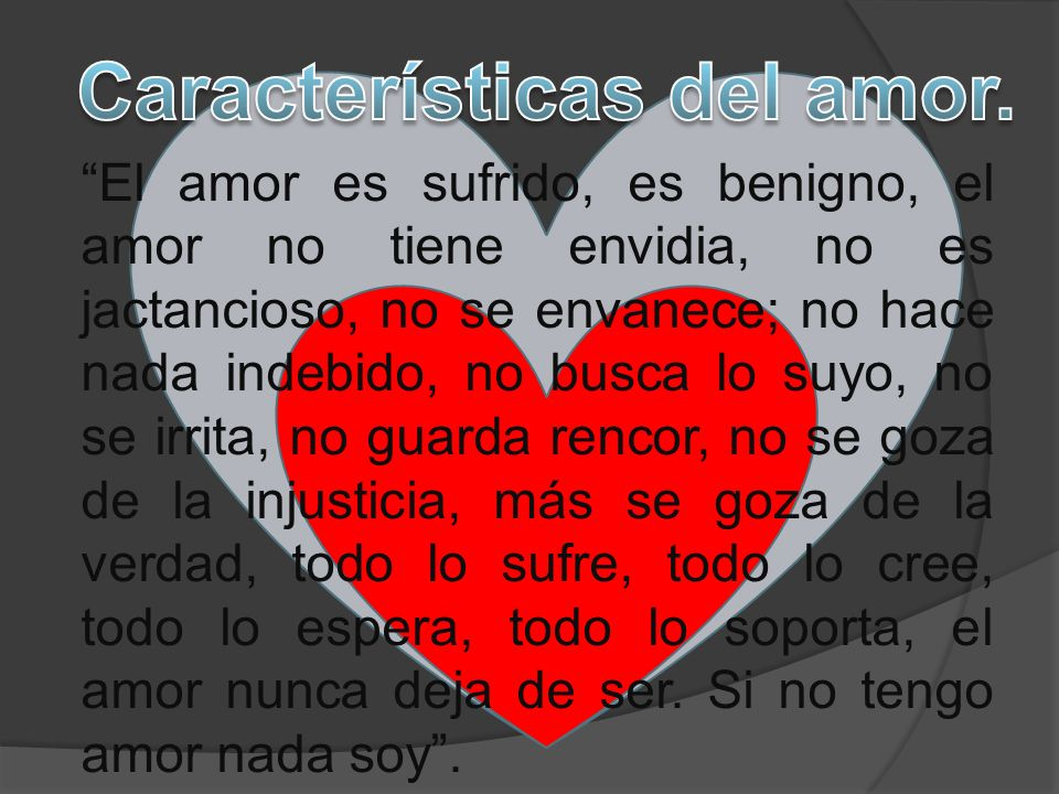 Características del amor.