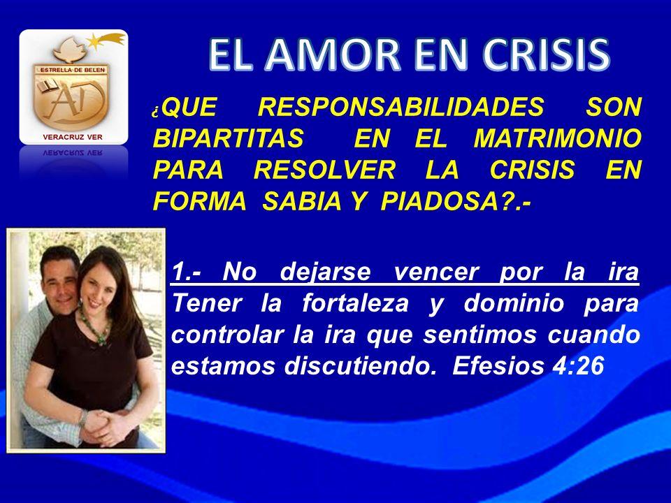 EL AMOR EN CRISIS ¿QUE RESPONSABILIDADES SON BIPARTITAS EN EL MATRIMONIO PARA RESOLVER LA CRISIS EN FORMA SABIA Y PIADOSA .-