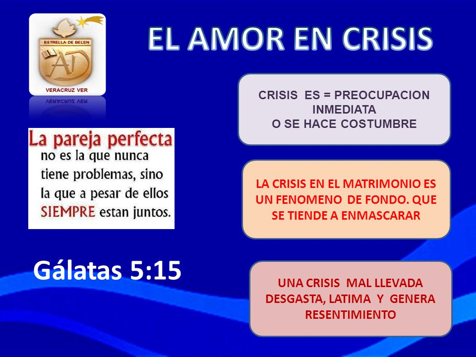 EL AMOR EN CRISIS Gálatas 5:15 LA CRISIS EN EL MATRIMONIO ES