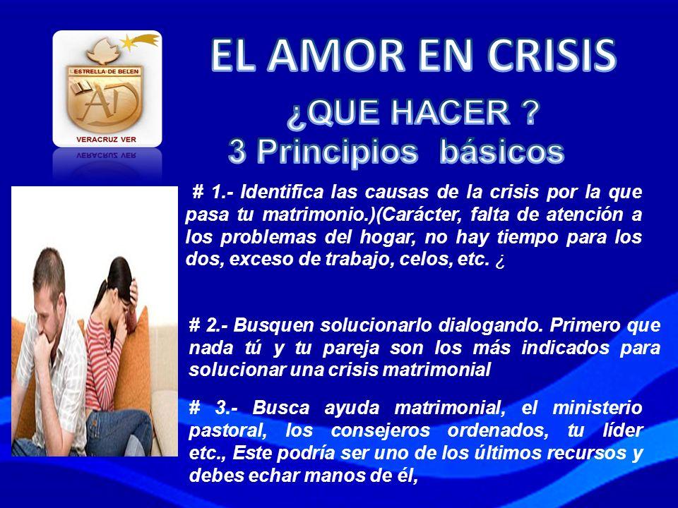 EL AMOR EN CRISIS ¿QUE HACER 3 Principios básicos