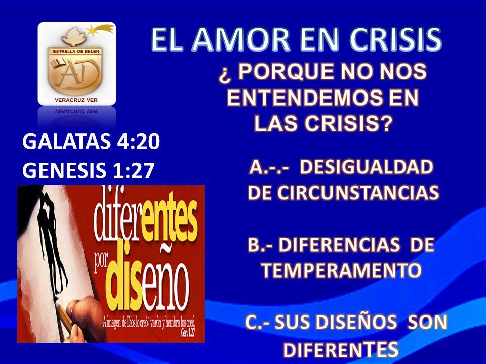 EL AMOR EN CRISIS GALATAS 4:20 GENESIS 1:27 ¿ PORQUE NO NOS
