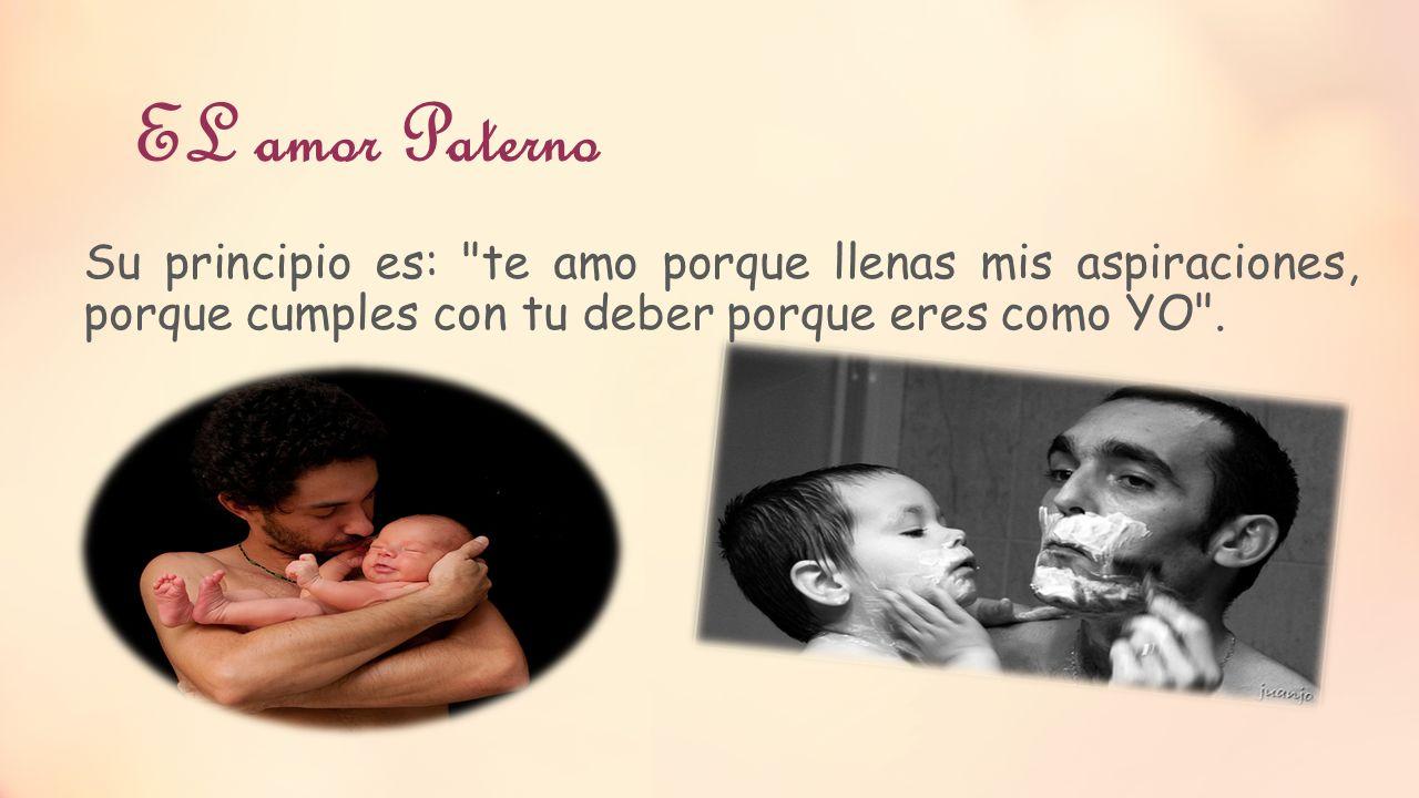 EL amor Paterno Su principio es: te amo porque llenas mis aspiraciones, porque cumples con tu deber porque eres como YO .