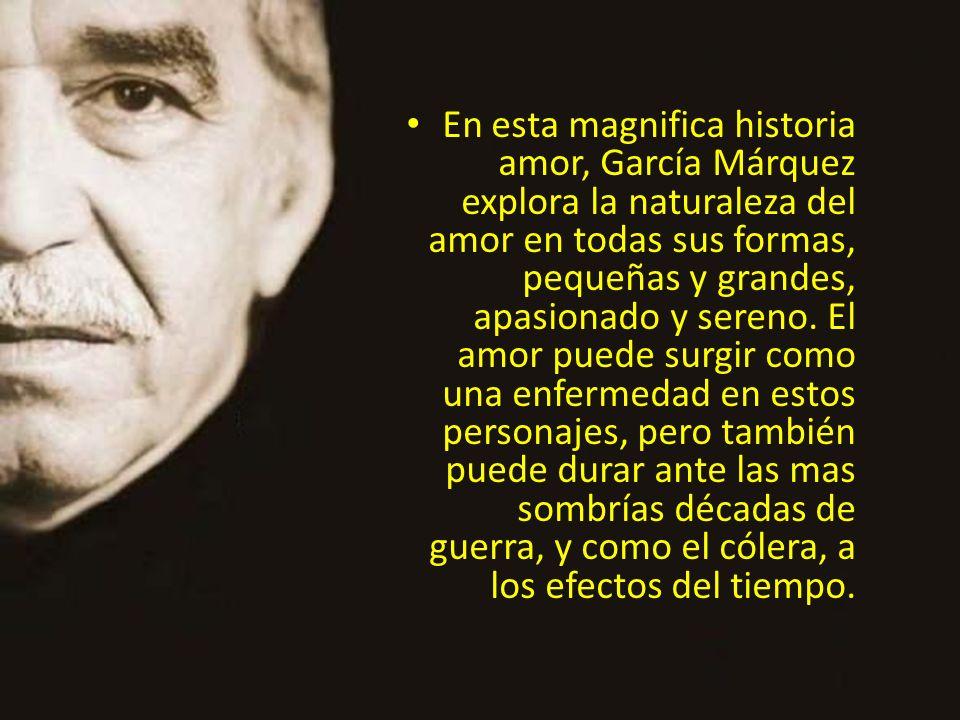 En esta magnifica historia amor, García Márquez explora la naturaleza del amor en todas sus formas, pequeñas y grandes, apasionado y sereno.