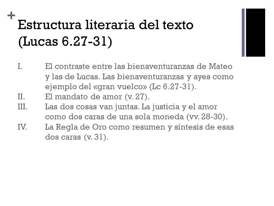 Estructura literaria del texto (Lucas 6.27-31)