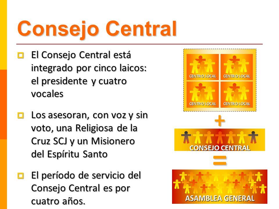 Consejo Central El Consejo Central está integrado por cinco laicos: el presidente y cuatro vocales.