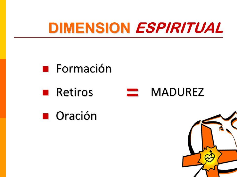 DIMENSION ESPIRITUAL Formación Retiros Oración MADUREZ =