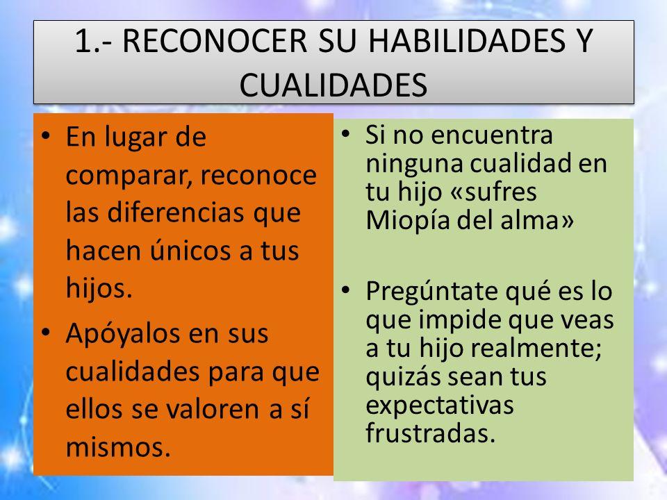 1.- RECONOCER SU HABILIDADES Y CUALIDADES
