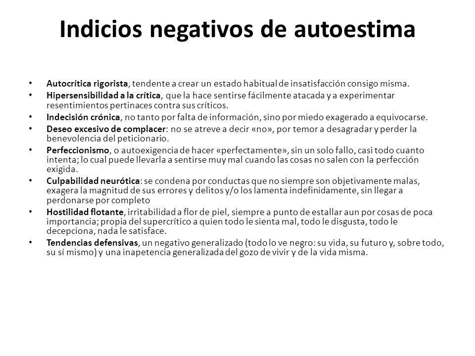 Indicios negativos de autoestima