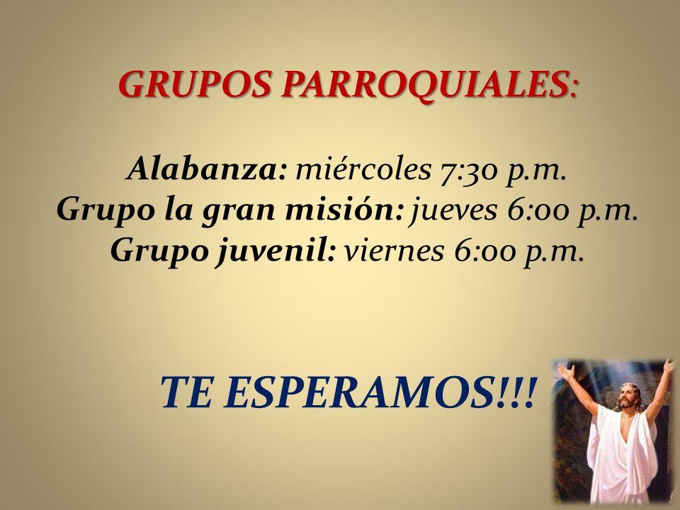 TE ESPERAMOS!!! GRUPOS PARROQUIALES: Alabanza: miércoles 7:30 p.m.
