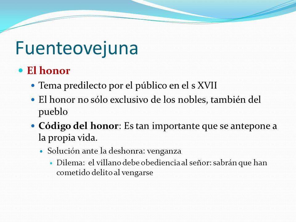 Fuenteovejuna El honor Tema predilecto por el público en el s XVII