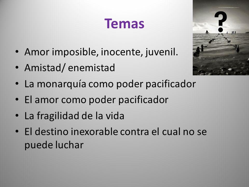 Temas Amor imposible, inocente, juvenil. Amistad/ enemistad