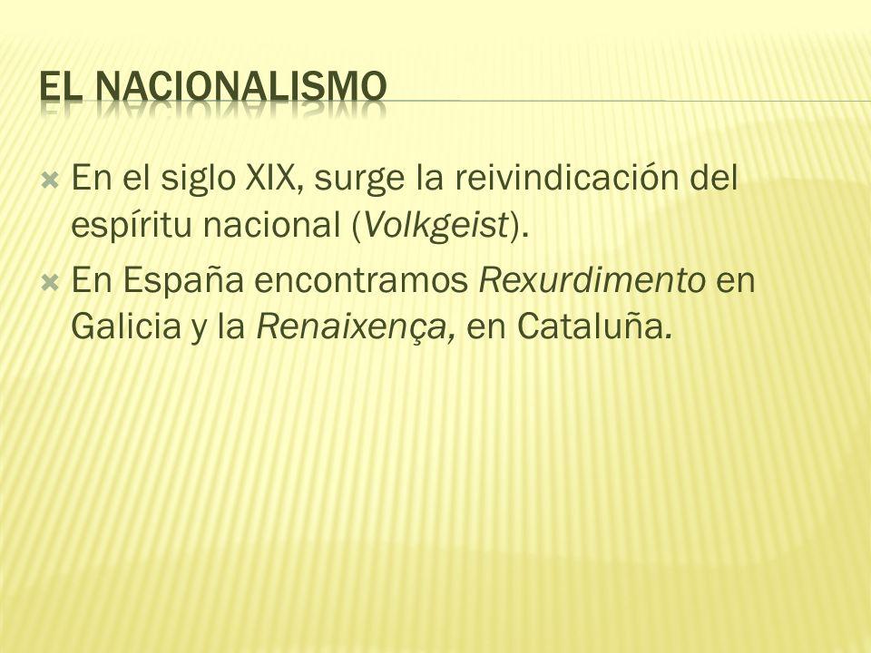 El nacionalismo En el siglo XIX, surge la reivindicación del espíritu nacional (Volkgeist).