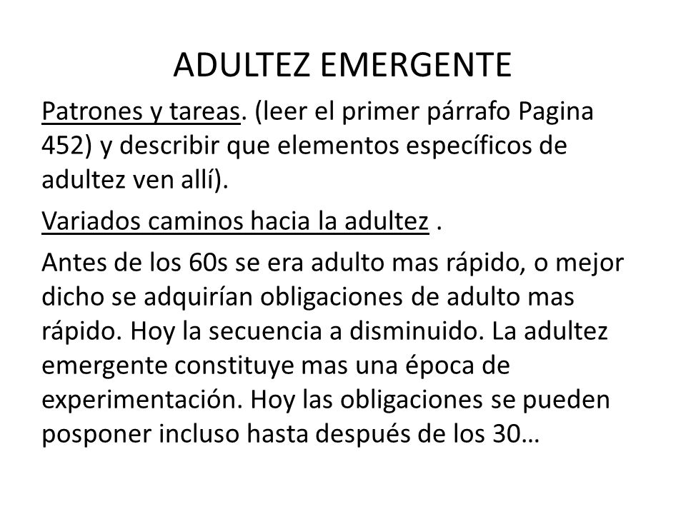 ADULTEZ EMERGENTE